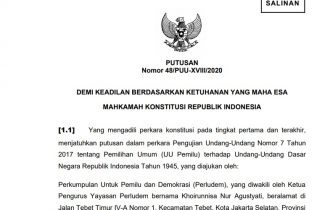 Putusan Mahkamah Konstitusi Nomor 48/PUU-XVIII/2020 tentang Ketentuan Ambang Batas 4 Percen