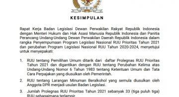 Kesimpulan Rapat Kerja Baleg DPR RI, KEMENKUMHAM RI dan Panitia Perancang UU DPD RI Tentang Prolegnas 2021